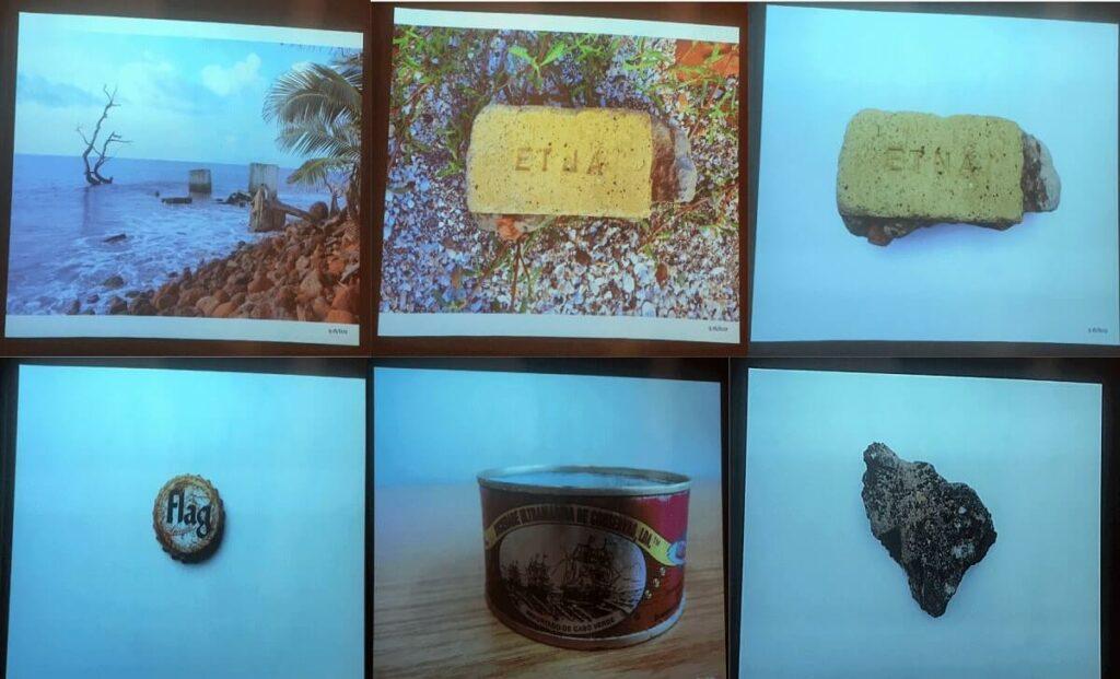 Sechs Screenshots aus der Videoinstallation A People's Archive of Sinking and Melting. Zeigt eine Landschaft, zwei Ziegelsteine, einen Flaschendeckel, eine Dose und einen Stein
